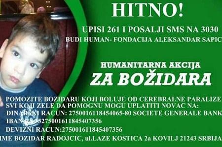 Plakat za pomoć Božidaru Radojčiću
