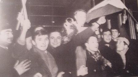 Fudbaleri Vojvodine posle pobede nad Atletikom u Madridu-1966